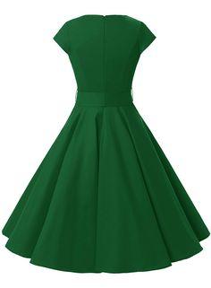 Amazon.com: Dressystar Women Vintage 1950s Retro Rockabilly Prom Dresses Cap-sleeve: Clothing