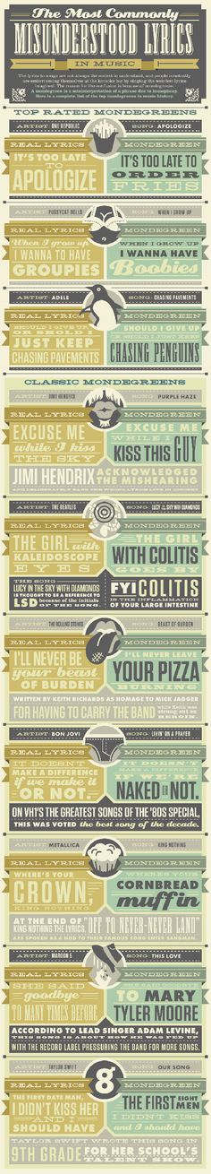 the girl with colitis goes by and other misheard lyrics. AKA the mondegreen infographic