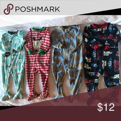 Boys Pajama set 18 months 4 one piece pajamas  Brands: Just one you, carters and child of mine  All in excellent condition Pajamas Pajama Sets