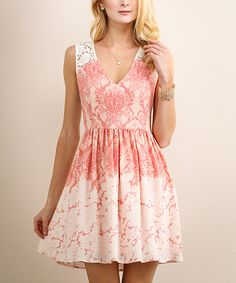 Look what I found on #zulily! Peach & Coral Lace-Back Fit & Flare Dress by Soiéblu #zulilyfinds