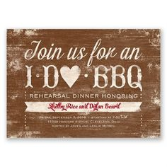Easily personalized and shipped in a snap! Find casual rehearsal dinner invitations to introduce your event. We suggest this day dinner invitation I Do BBQ Rehearsal Dinner Invitation Rustic Rehearsal Dinners, Rehearsal Dinner Decorations, Rehearsal Dinner Invitations, Wedding Rehearsal, Rehearsal Dinner Bbq, Picture Invitations, Rustic Invitations, Shower Invitations, Invitation Ideas