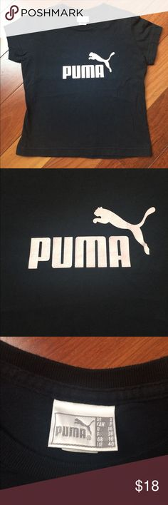"PUMA Cropped Logo Shirt Great condition, logo is LIGHT PINK, pic makes it look more white. Size small, 16"" armpit to armpit, 13.5"" shoulder to shoulder, 16"" from middle of neck down. Puma Tops Tees - Short Sleeve"