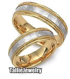 $1117 His & Hers Matching 14K White and Yellow Gold Wedding Bands Rings Set  7mm/6.5mm Wide  Sizes 4-12  Free Engraving  New