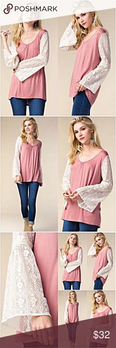 """Boho Lace Bell Sleeve Dusty Rose Hi Low Tunic SML Super lovely dusty rose high low Boho tunic featuring stunning lace bell sleeves in ivory. Lightweight, Slightly Relaxed, Stretchy & Flowy. Polyester/Cotton/Nylon blend.   • Small  Bust 39"""" Front Length 25"""" Back 28""""  • Medium  Bust 40"""" Front Length 26"""" Back 29""""  • Large Bust 41"""" Front Length 27"""" Back 30"""" Tops"""