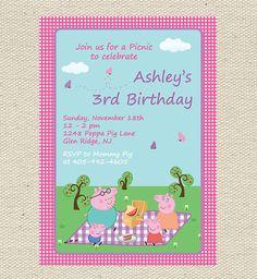 Peppa Pig Picnic Birthday Invitation por GigglesandGraceDesig, $9,00