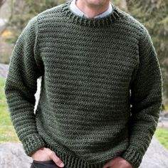 Give him a gift he will love this year for Father's Day. The Simple Sweater for Him is an easy crochet pattern to complete with a stylish ribbed pattern. It's a classic crew neck sweater that can be worn almost anywhere. Mens Knit Sweater Pattern, Crochet Jumper Pattern, Jumper Patterns, Sweater Knitting Patterns, Easy Crochet Patterns, Men Sweater, Crochet Sweaters, Crochet Men, Crochet For Boys