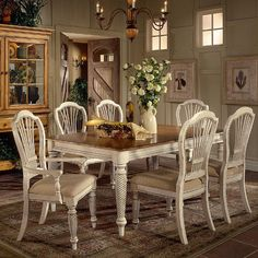 Hillsdale Furniture Wilshire 7 Piece Dining Set & French Country Dining Table | French country dining table Country ...