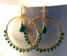 14K gold filled and bright green faceted genuine by jeweledtriton, $96.00