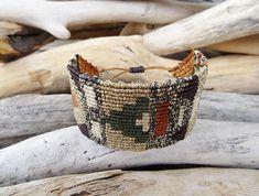 Brown Gold Geometric macrame bracelet Wide makrameLuxurious
