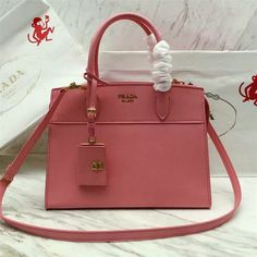 2017 S/S Prada Esplanade Saffiano and Calf Leather Tote 1BA046 Geranium Pink
