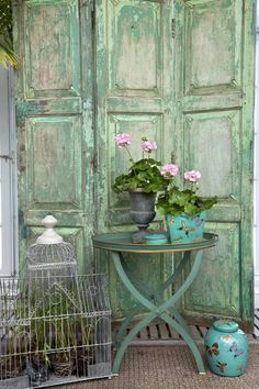 vignette with birdcage     ...*THE GREEN GARDEN GATE*: HANDSOMELY IN THE GREENHOUSE