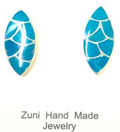 Sterling Silver Inlay Turquoise Native American Zuni Indian Marquise Shaped.