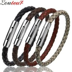 LOULEUR 2017 Genuine Leather Bracelet for Women Men's Vintage Braided Leather Bracelet Stainless Steel Mens Bracelets Bracelets Men's Jewelry