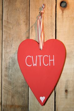 Hand Painted wooden hearts in Welsh / Cymraeg by PentrePlants, $10.50