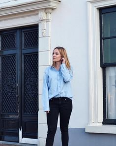 Anouk is wearing our light blue button up shirt and keeping it simple - LOVE IT! XOXO