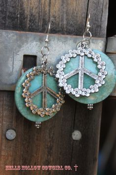 Bold Turquoise Peace Sign Earrings by hellshollowcowgirlco on Etsy, $28.00