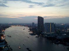Bangkok riverside. Photo from the balcony of Chatrium Hotel