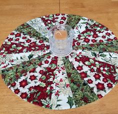 Christmas quilted table topper round holiday table quilt