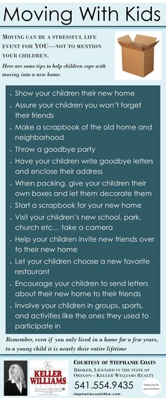 Moving with Kids? Tips to help your children cope with transitioning into a new home, courtesy of Stephanie Coats, Broker, Licensed in the state of Oregon / eugenehousehunt.com