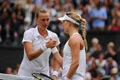 Eugenie Bouchard and Petra Kvitova at net after their match