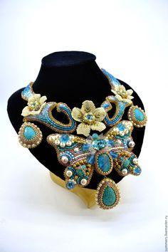 """Купить Колье """" Версаль"""" - бирюзовый, подарок девушке, выпускной, свадебное украшение, украшение с бирюзой"""