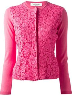 Sometimes only a cardigan will do. Shop designer knitwear for women at Farfetch and find Thom Browne, Prada and Burberry. Floral Cardigan, Crochet Cardigan, Crochet Top, Pink Long Sleeve Tops, Pink Fashion, Women's Fashion, Fashion Design, Pink Outfits, Pink Tops