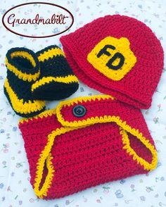 Baby Crocheted Fireman Hat Diaper Cover & Boots 4 by Grandmabilt, $63.00