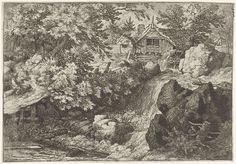 Allaert van Everdingen | Watermolen nabij een waterval, Allaert van Everdingen, 1631 - 1675 | Gezicht op een waterval met bovenaan een watermolen. Op het pad langs het water zit een man op een boomstam.