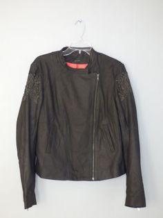 blouson cuir noir brodé perle ONE STEP - Taille 44