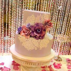 Today's bridal shower. #purplelace #showercake #sweet #dressmycake #delicious