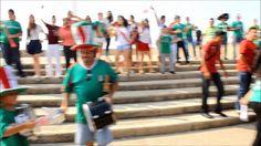 Coatza celebra triundo de Selección Mexicana ante Croacia en asta Bandera