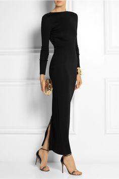 Pierre Balmain - Open-back stretch-knit maxi dress from NET-A-PORTER