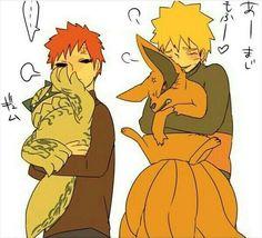 Gaara, Shukaku, Naruto, and Kurama Naruto Shippuden Sasuke, Naruto Kakashi, Anime Naruto, Naruto Comic, Anime Chibi, Naruto Boys, Naruto Fan Art, Naruto Cute, Tailed Beasts Naruto