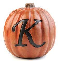 White Monogram Pumpkins at Kirklands Name In Different Fonts, Pumpkin Delight, Letter K, Pumpkin Decorating, Holidays Halloween, Krystal, Lettering Design, Halloween Pumpkins, Pumpkin Carving