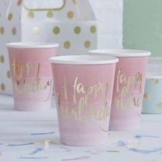 Gold Foiled Pink Ombre Happy Birthday 8 Paper Cups