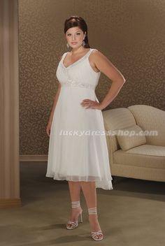 Simple White Plus Size V-neck Empire Chiffon Beach/Destination Wedding Dress (MW5464)-LuckyDressShop.com