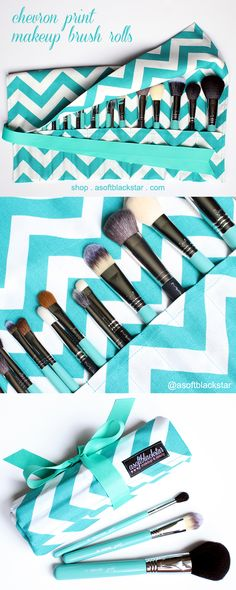 Teal chevron print makeup brush rolls by asoftblackstar - washable