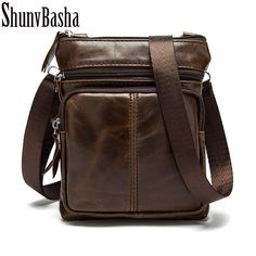 f591212b9b6d ShunvBasha Genuine Leather Men Bags Hot Sale Male Small Messenger Bag Man  Fashion Crossbody Shoulder Bag