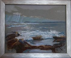 """Beautiful Original 8"""" x 10"""" Seascape Pastel Painting on Canson Mi Teintes Pastel Paper by Maine Artist Tom Nelson in 9"""" x 11"""" Frame by TomNelsonArt on Etsy"""