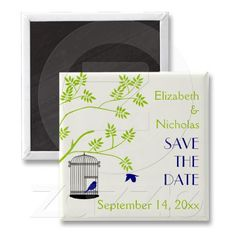 Bird cage lime green, navy blue wedding Save the Date Fridge Magnets