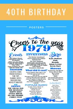 birthday printable 1979 poster Cheers to 40 years 40 birthday decorations T. Geburtstag d Diy 40th Birthday Ideas, 40th Birthday Poems, 40th Birthday Decorations, Adult Birthday Party, 40th Birthday Parties, 40 Birthday, Birthday Invitations, Birthday Calendar Board, Birthday Cards For Boyfriend