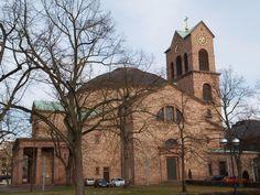 Karlsruhe, Germany: Katholische Kirche St Stephan (Erbprinzenstrasse): view (originally 1808-1814, Friedrich Weinbrenner, destroyed in WWII, reconstructed 1951-1955)