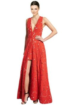 Alice-amp-Olivia-Red-Francis-Sleeveless-V-Neck-Flared-Lace-Evening-Gown-Dress-2