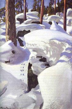 Akseli Gallen-Kallela, The Lair of the Lynx, 1908, Oil on canvas, 98 x 64 cm, Turku Art Museum