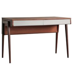 1950's Dutch Mid Century Modern Teak Desk | From a unique collection of antique and modern desks and writing tables at https://www.1stdibs.com/furniture/tables/desks-writing-tables/