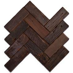 LOVE this reclaimed wood backsplash tile...LOVE