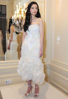 High-Low Hemline Wedding Dress | Marchesa Fall 2015 Wedding Dresses |Maria Valentino/MCV Photo | Blog.TheKnot.com
