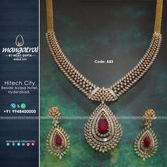 Code: For More Details Call Us on Store Address: Mangatrai @ Hitech City , Beside Avasa Hotel , Hyderabad. Diamond Necklace Set, Diamond Jewellery, Diamond Pendant, Bridal Jewelry, Gold Jewelry, Pendant Jewelry, Keep Jewelry, Temple Jewellery, Selling Jewelry