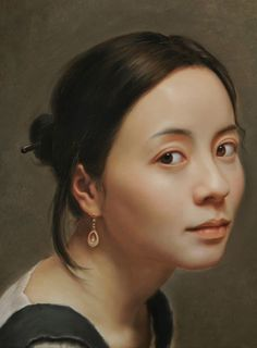 Artist: Lin Jinfu (Chinese, b. 1978), oil on canvas {contemporary figurative realism beautiful female head woman face portrait painting #loveart} linjinfu.net