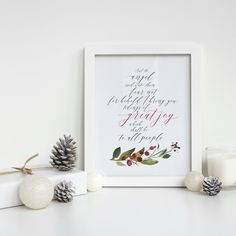 """Printable sign reads """"And the angel said unto them fear not for behold I bring you tidings of great joy which shall be to all people"""" quality home decor ideas from Aimee Weaver Designs Thanksgiving Signs, Thanksgiving Decorations, Halloween Decorations, Christmas Decorations, Christmas Signs, Christmas Diy, Christmas Wreaths, Victorian Christmas, Christmas Goodies"""